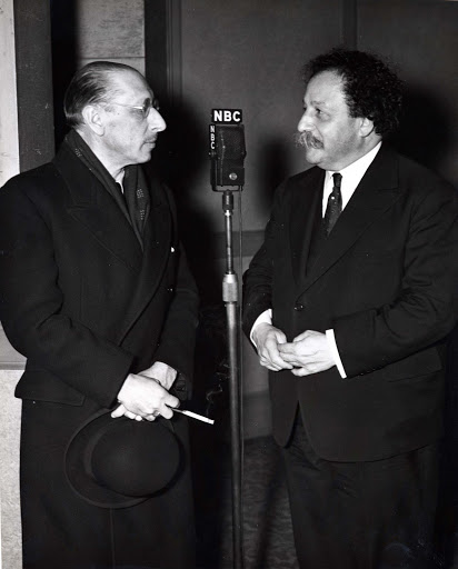 Composer Igor Stravinsky (left) with Pierre Monteux, San Francisco Symphony Music Director from 1935 to 1952. Monteux's friendship with Stravinsky went back to 1911, when the conductor led the premiere of 'Petrushka'. Photo courtesy of the Museum of Performance and Design